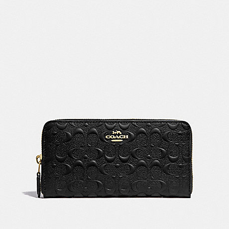 COACH F67566 ACCORDION ZIP WALLET IN SIGNATURE LEATHER BLACK/IMITATION GOLD