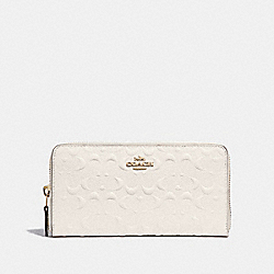 ACCORDION ZIP WALLET IN SIGNATURE LEATHER - F67566 - CHALK/GOLD