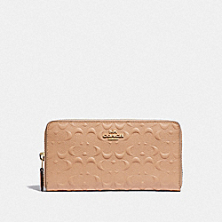 COACH F67566 Accordion Zip Wallet In Signature Leather BEECHWOOD/IMITATION GOLD