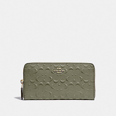 COACH F67566 ACCORDION ZIP WALLET IN SIGNATURE LEATHER MILITARY GREEN/GOLD