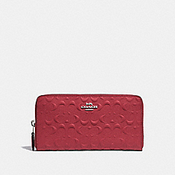 COACH F67566 - ACCORDION ZIP WALLET IN SIGNATURE LEATHER WASHED RED/SILVER