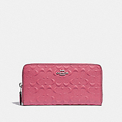 COACH F67566 Accordion Zip Wallet In Signature Leather STRAWBERRY/SILVER