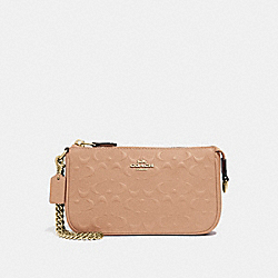 LARGE WRISTLET 19 IN SIGNATURE LEATHER - F67567 - BEECHWOOD/IMITATION GOLD