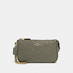 LARGE WRISTLET 19 IN SIGNATURE LEATHER - F67567 - MILITARY GREEN/GOLD