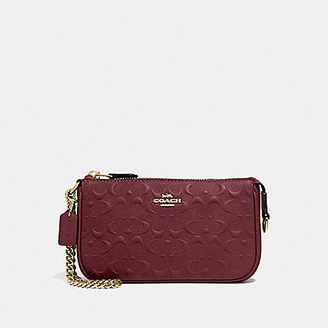 COACH F67567 LARGE WRISTLET 19 IN SIGNATURE LEATHER WINE/IMITATION GOLD