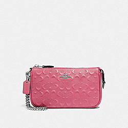 LARGE WRISTLET 19 IN SIGNATURE LEATHER - F67567 - STRAWBERRY/SILVER