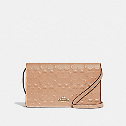 HAYDEN FOLDOVER CROSSBODY CLUTCH IN SIGNATURE LEATHER - F67568 - BEECHWOOD/IMITATION GOLD