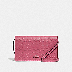 HAYDEN FOLDOVER CROSSBODY CLUTCH IN SIGNATURE LEATHER - F67568 - STRAWBERRY/SILVER