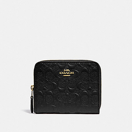 COACH F67569 SMALL ZIP AROUND WALLET IN SIGNATURE LEATHER BLACK/GOLD