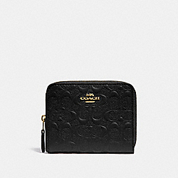 COACH F67569 - SMALL ZIP AROUND WALLET IN SIGNATURE LEATHER BLACK/GOLD