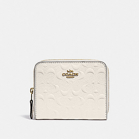 COACH F67569 SMALL ZIP AROUND WALLET IN SIGNATURE LEATHER CHALK/GOLD