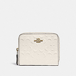 COACH F67569 - SMALL ZIP AROUND WALLET IN SIGNATURE LEATHER CHALK/GOLD