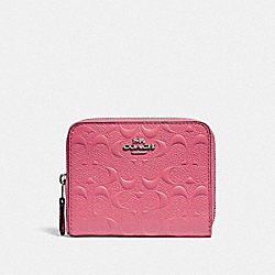 COACH F67569 - SMALL ZIP AROUND WALLET IN SIGNATURE LEATHER STRAWBERRY/SILVER