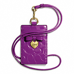 COACH F67576 Embossed Liquid Gloss Charm Lanyard Id BRASS/IRIS
