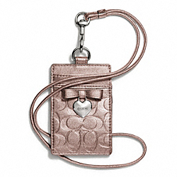 COACH F67576 - EMBOSSED LIQUID GLOSS CHARM LANYARD ID SILVER/ROSEGOLD
