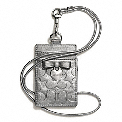 COACH F67576 - EMBOSSED LIQUID GLOSS CHARM LANYARD ID SILVER/SILVER
