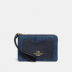 COACH F67579 - CORNER ZIP WRISTLET DENIM/LIGHT GOLD