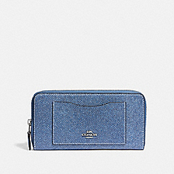 COACH F67585 Accordion Zip Wallet DENIM/SILVER