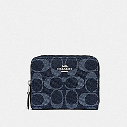 COACH F67586 - SMALL ZIP AROUND WALLET IN SIGNATURE DENIM DENIM/SILVER