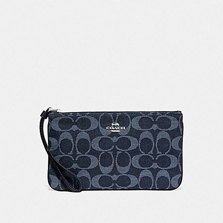 COACH F67587 LARGE WRISTLET IN SIGNATURE DENIM DENIM/SILVER