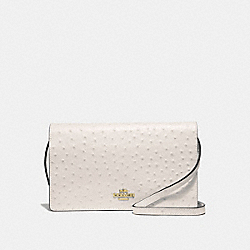 HAYDEN FOLDOVER CROSSBODY CLUTCH - F67595 - CHALK/LIGHT GOLD