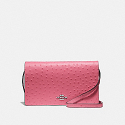 HAYDEN FOLDOVER CROSSBODY CLUTCH - F67595 - STRAWBERRY/SILVER