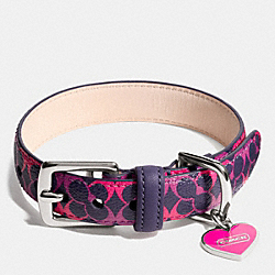 COACH F67599 Waverly Signature Pet Collar SILVER/NAVY/PINK