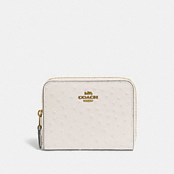 COACH F67606 Small Zip Around Wallet CHALK/LIGHT GOLD
