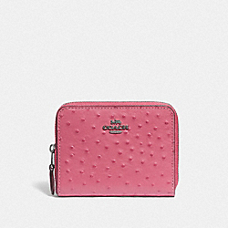 COACH F67606 - SMALL ZIP AROUND WALLET STRAWBERRY/SILVER
