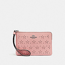 COACH F67608 Corner Zip Wristlet PETAL/STRAWBERRY/SILVER
