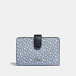 COACH F67610 Medium Corner Zip Wallet With Ditsy Star Print BLUE MULTI/SILVER