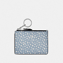 COACH F67611 - MINI SKINNY ID CASE WITH DITSY STAR PRINT BLUE MULTI/SILVER
