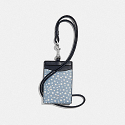 COACH F67612 Id Lanyard With Ditsy Star Print BLUE MULTI/SILVER