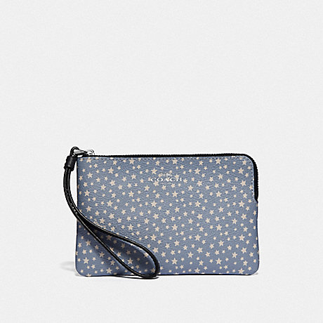 COACH F67613 CORNER ZIP WRISTLET WITH DITSY STAR PRINT BLUE-MULTI/SILVER