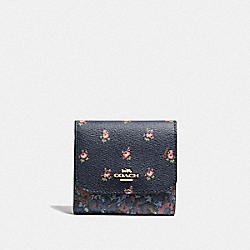 COACH F67618 - SMALL WALLET WITH FLORAL DITSY PRINT MIDNIGHT MULTI/GOLD