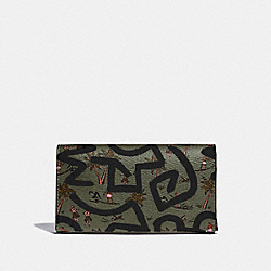 COACH F67627 Keith Haring Universal Phone Case With Hula Dance Print SURPLUS MULTI/BLACK ANTIQUE NICKEL