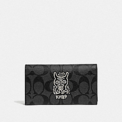 KEITH HARING UNIVERSAL PHONE CASE IN SIGNATURE CANVAS WITH MOTIF - F67628 - CHARCOAL/BLACK/BLACK ANTIQUE NICKEL