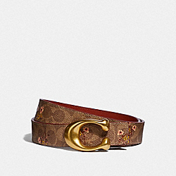 SIGNATURE BUCKLE BELT WITH FLORAL PRINT, 32MM - F67707 - B4/TAN RUST