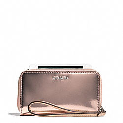 COACH F67736 Mirror Metallic Leather East/west Universal Case SILVER/ROSE GOLD