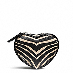 COACH F67741 - ZEBRA PRINT HEART JEWELRY POUCH ONE-COLOR
