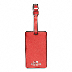 COACH F67743 Darcy Leather Luggage Tag SILVER/VERMILLION