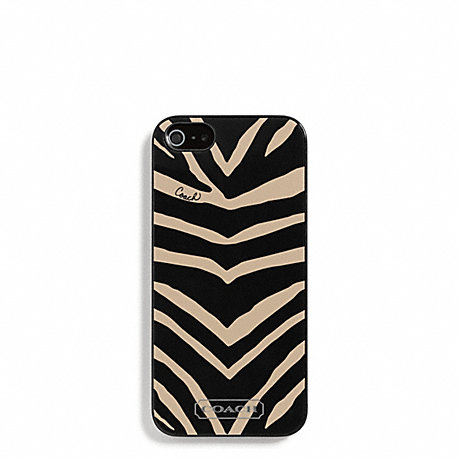 COACH f67753 ZEBRA PRINT MOLDED IPHONE 5 CASE BLACK