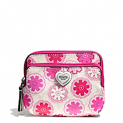COACH F67814 Floral Print Double Zip Coin Wallet