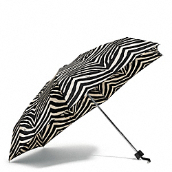 COACH F67852 Zebra Print Mini Umbrella SILVER/BLACK