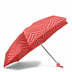 COACH F67852 Zebra Print Mini Umbrella SILVER/HOT ORANGE