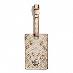 COACH F67883 Signature Stripe Embossed Snake Luggage Tag