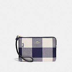 COACH F67934 - CORNER ZIP WRISTLET WITH BUFFALO PLAID PRINT MIDNIGHT/LIGHT GOLD