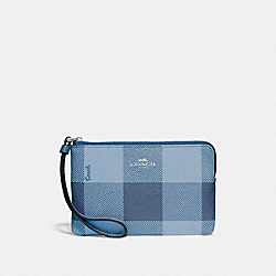 COACH F67934 - CORNER ZIP WRISTLET WITH BUFFALO PLAID PRINT CORNFLOWER/SILVER