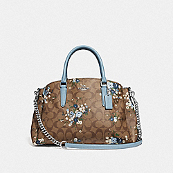 COACH F67941 Sage Carryall In Signature Canvas With Floral Bundle Print KHAKI BLUE MULTI/SILVER