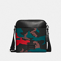 CROSSBODY WITH CAMO PRINT - F67944 - RED MULTI/BLACK ANTIQUE NICKEL